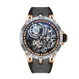 OBLVLO Sports Watch Skeleton Automatic Rose Gold Steel Watch for Men LM-TTB