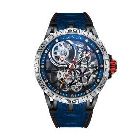 OBLVLO Sports Watch Skeleton Automatic Steel Watch for Men LM-YBLB