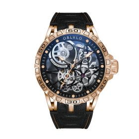 OBLVLO Sports Watch Skeleton Automatic Rose Gold Steel Watch for Men LM-P