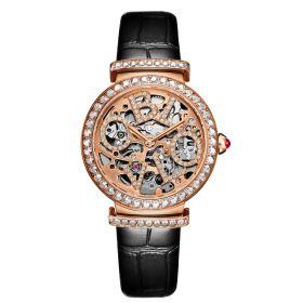 OBLVLO BW Ladies Skeleton Diamond Rose Gold  Automatic Watch BW-PB