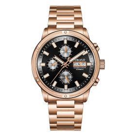 OBLVLO CM Series Mens Designer Watches Rose Gold Automatic Watch CM-P-Black