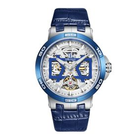 OBLVLO New Design Steel Automatic Watches With Skeleton Dial Leather Strap Waterproof Big Watch UM-TLL