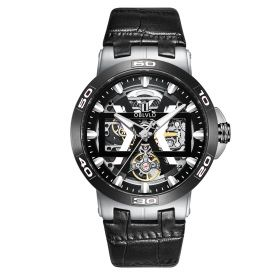 OBLVLO New Design Steel Automatic Watches With Skeleton Dial Leather Strap Waterproof Big Watch UM