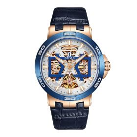 OBLVLO New Design Rose Gold Automatic Watches With Skeleton Dial Leather Strap Waterproof Big Watch UM-TLP