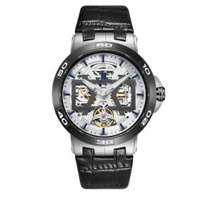 OBLVLO New Design Steel Automatic Watches With Skeleton Dial Leather Strap Waterproof Big Watch UM-TWB