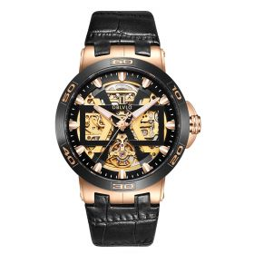 OBLVLO New Design Rose Gold Automatic Watches With Skeleton Dial Leather Strap Waterproof Big Watch UM-TBG