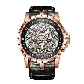 OBLVLO Men's Skeleton Double Tourbillon Automatic Rose Gold Watch RM-E-PBB