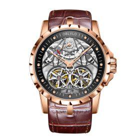 OBLVLO Men's Skeleton Double Tourbillon Automatic Rose Gold Watch RM-E-PBW