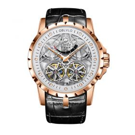 OBLVLO Men's Skeleton Double Tourbillon Automatic Rose Gold Watch RM-E-PWB
