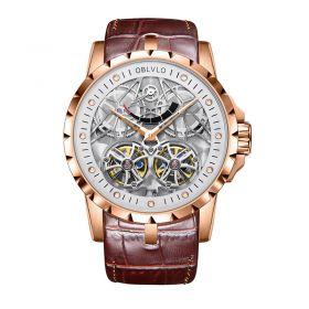 OBLVLO Men's Skeleton Double Tourbillon Automatic Rose Gold Watch RM-E-PWW