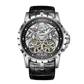 OBLVLO Men's Skeleton Double Tourbillon Automatic Steel Watch RM-E-Y