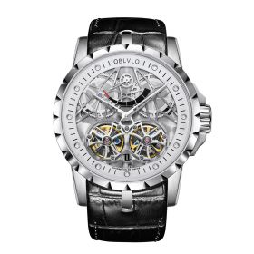 OBLVLO Men's Skeleton Double Tourbillon Automatic Steel Watch RM-E-YWB
