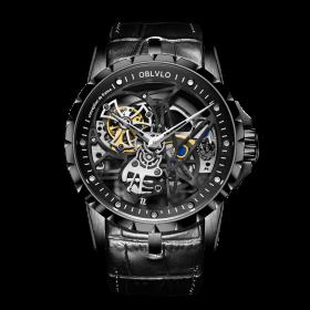OBLVLO RM-S Men's Skeleton Tourbillon Automatic Watch RM-S-BBB