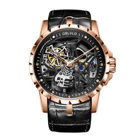 OBLVLO RM-S Men's Skeleton Tourbillon Automatic Rose Gold Watch RM-S-P