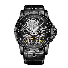 OBLVLO Double Tourbillon Skeleton Automatic PVD Watch for Men RM-T-BBB