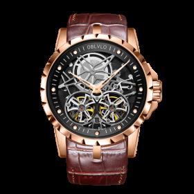 OBLVLO Double Tourbillon Skeleton Automatic Rose Gold Watch for Men RM-T-P