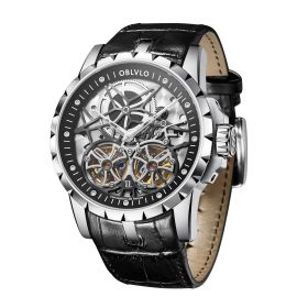 OBLVLO Double Tourbillon Skeleton Automatic Steel Watch for Men RM-T-Y