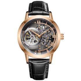 OBLVLO Tourbillon Skeleton Automatic Rose Gold Watch for Men VM-PBB