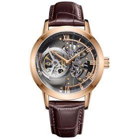OBLVLO Tourbillon Skeleton Automatic Rose Gold Watch for Men VM-P